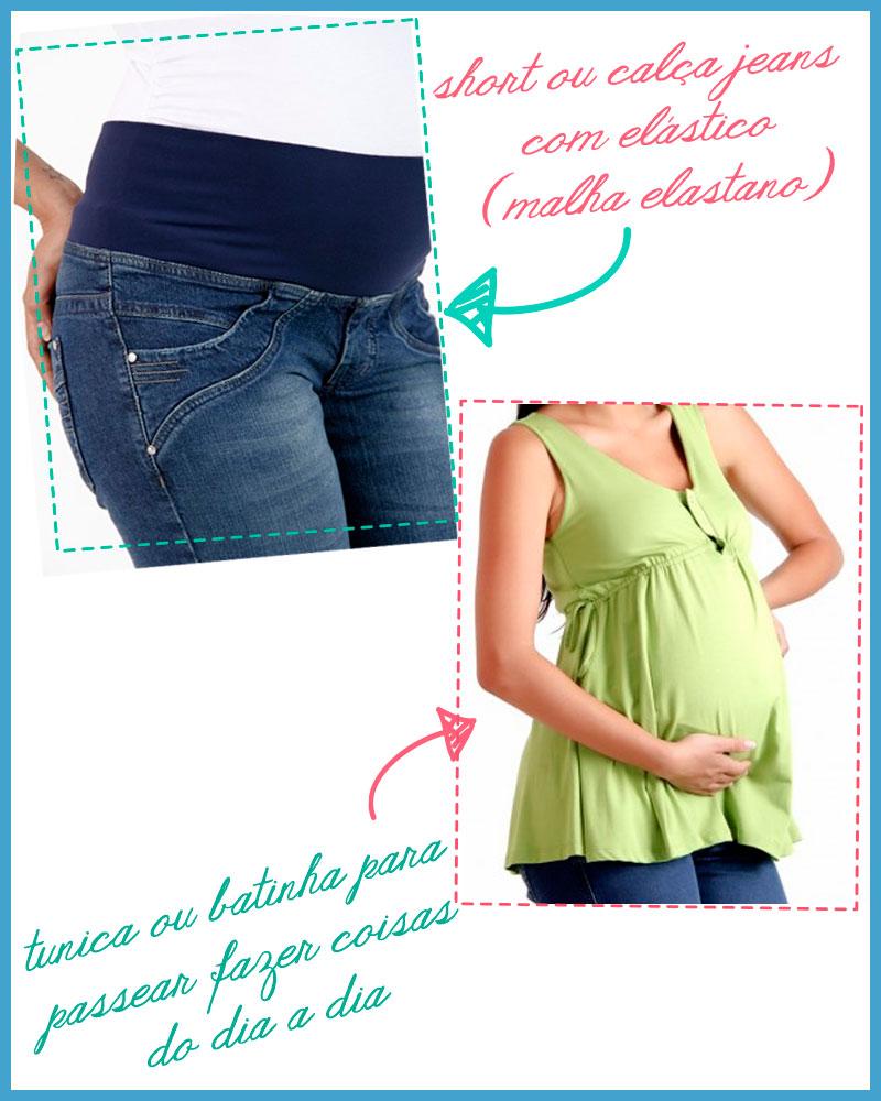 Dicas para roupas de gestante calça com elastano e bata