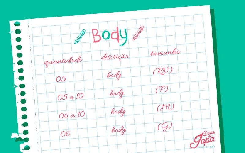 Lista de enxoval de bebê body