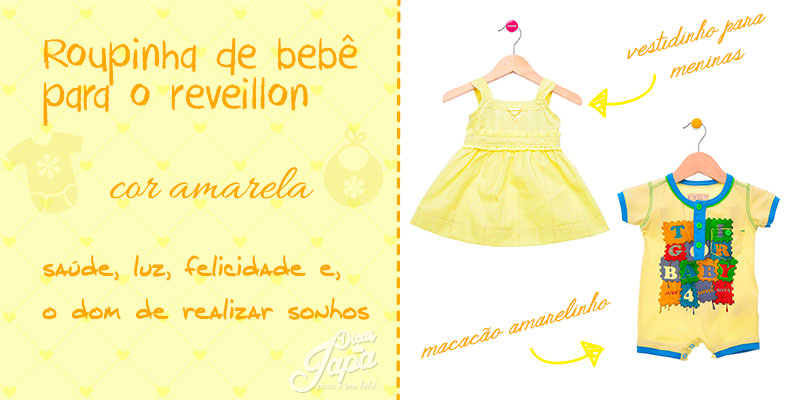 Roupinha de bebê de ano novo cor amarela