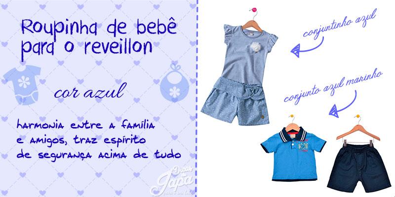 Roupinha de bebê de ano novo cor azul