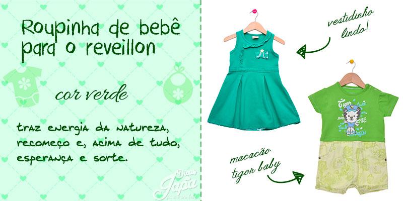 Roupinha de bebê de ano novo cor verde