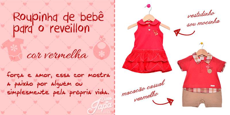 Roupinha de bebê de ano novo cor vermelha