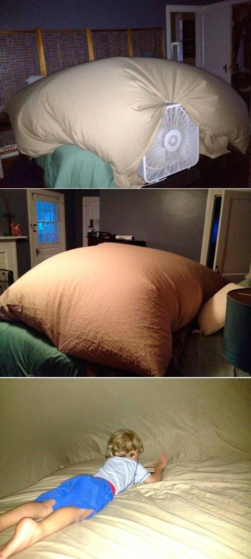 inflando a cabana