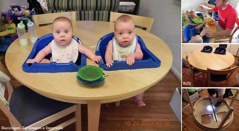 mesa para papinha do bebê