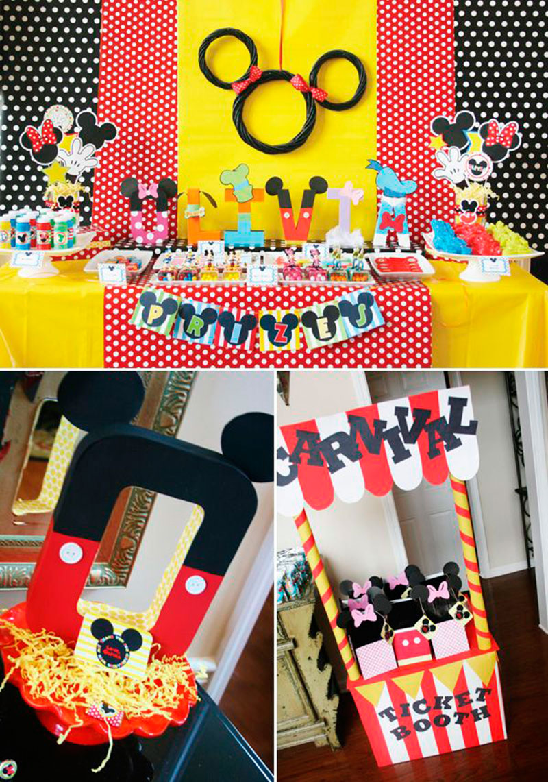 preparativos para festa do mickey
