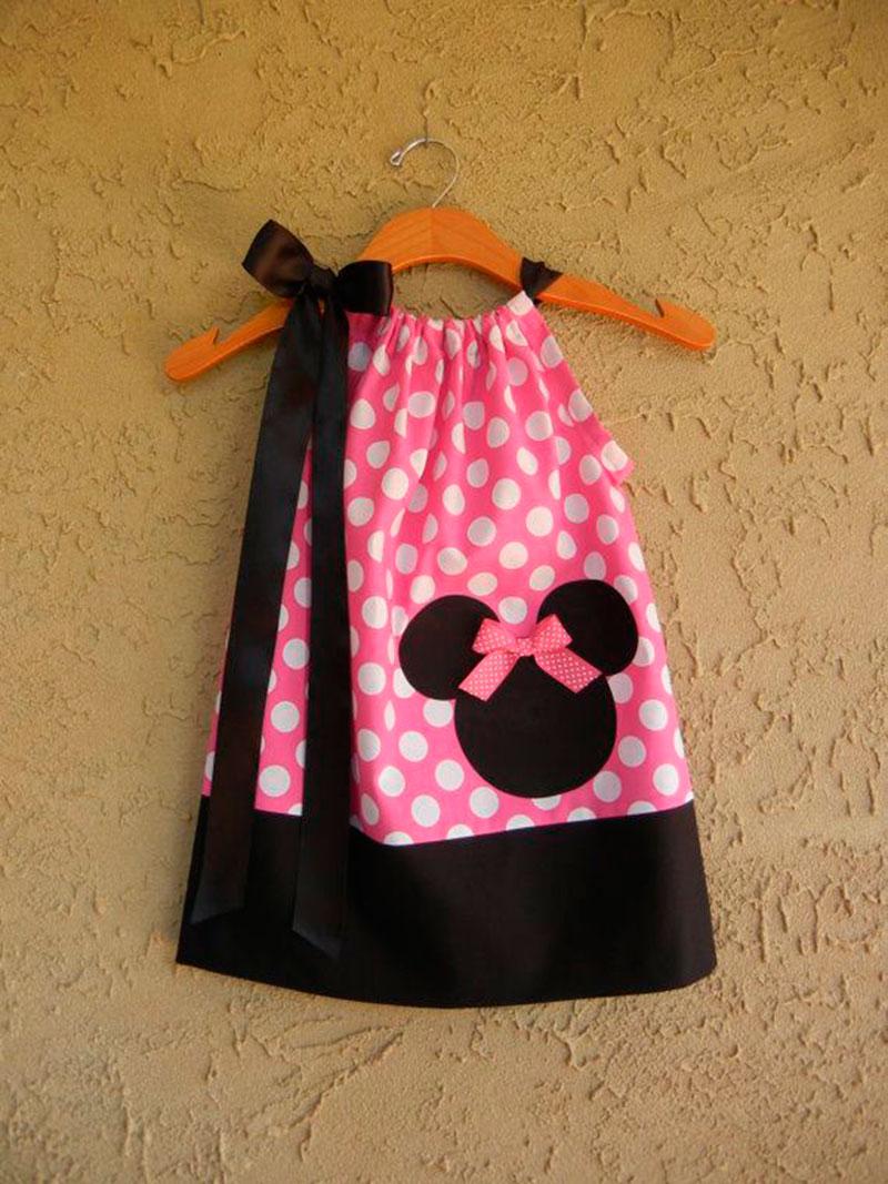 vestido simples festas infantis da Minnie Mouse