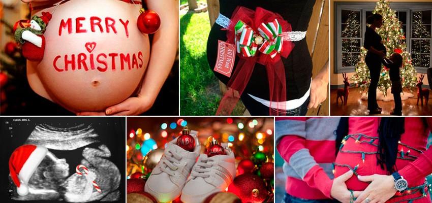 22 ideias para fotos de gestantes no Natal