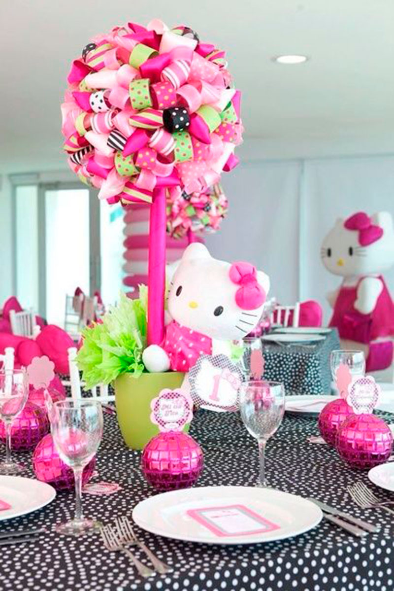 70 inspira es de festas infantis da hello kitty - Cortinas de hello kitty ...