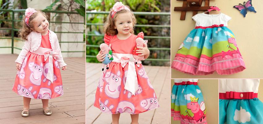 7 lindos vestidos da Peppa Pig para festa infantil