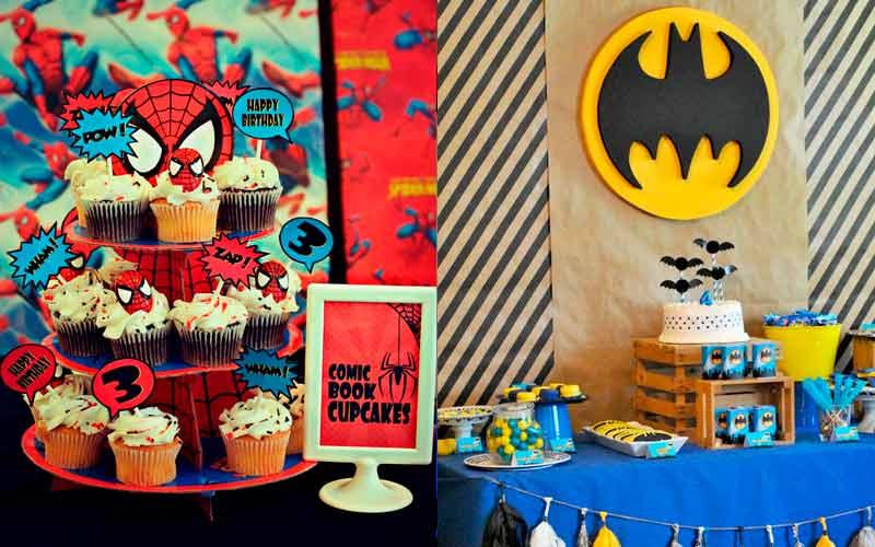 Comparando o tema festa do Homem Aranha com tema do Batman