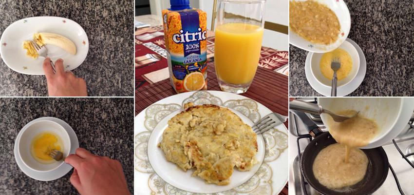 Receita de panqueca sem farinha - com ovo e banana