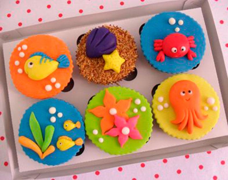 cupcake festa fundo do mar