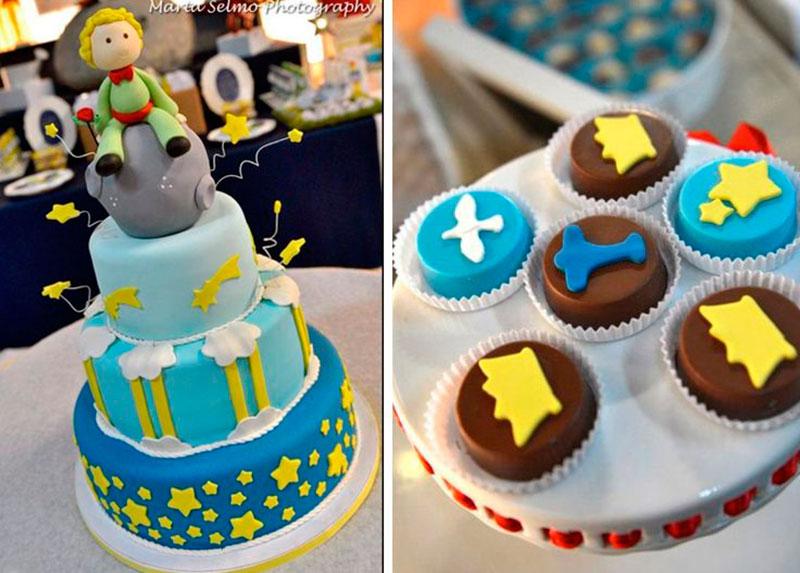 bolo de 3 andares e cupcake