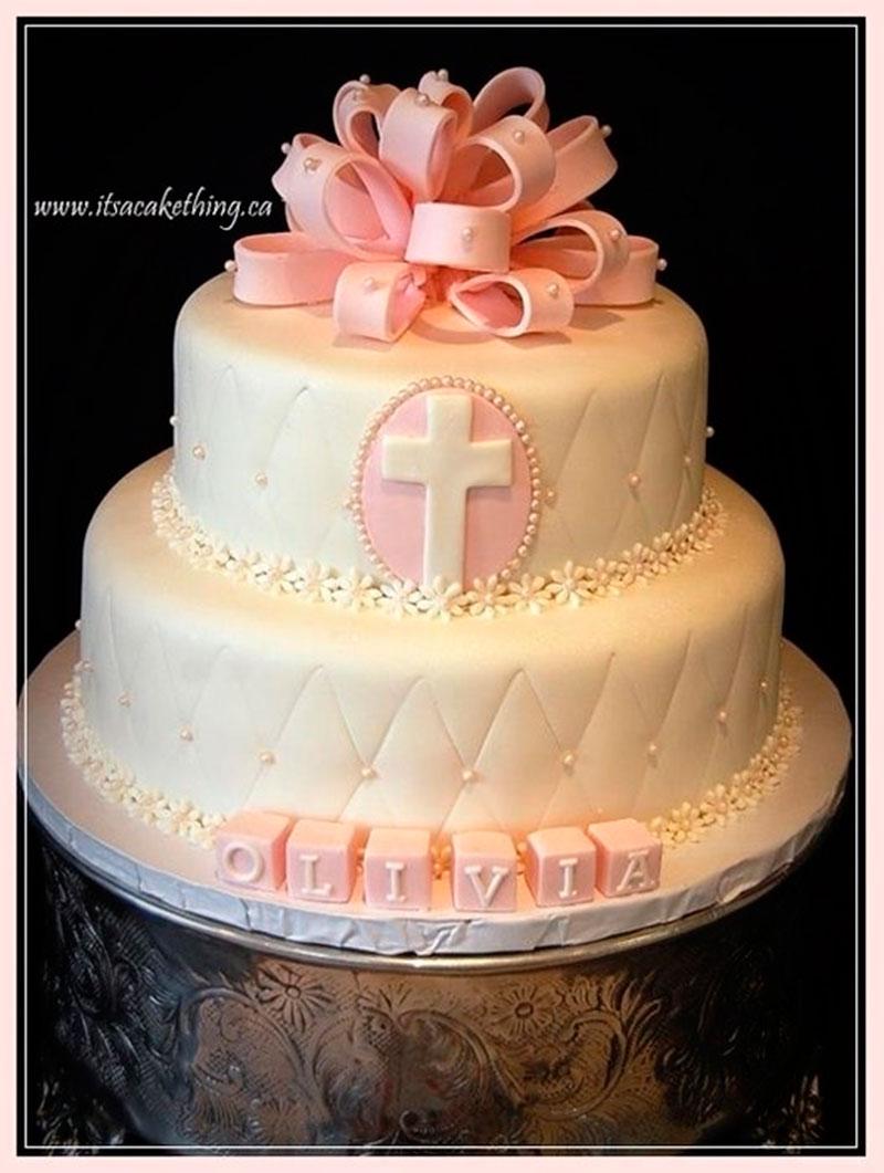 bolo de menina batizado