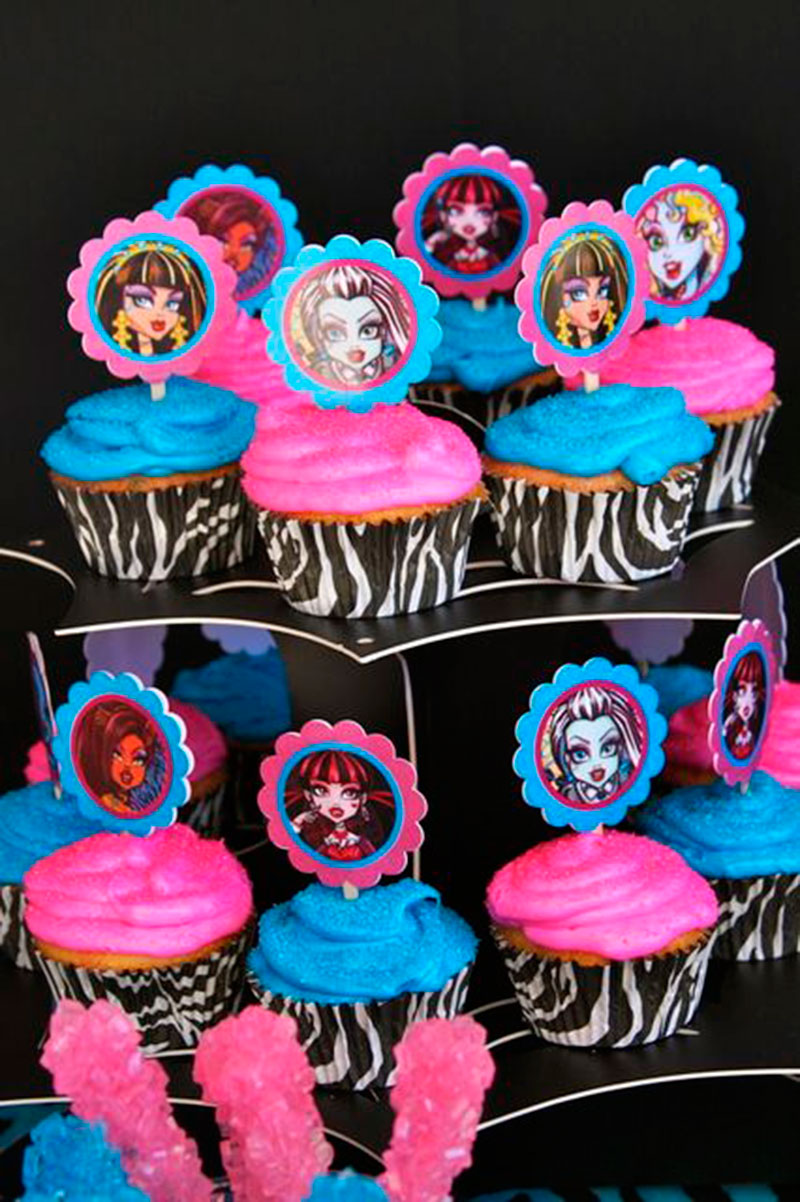 cupcake pink e azul