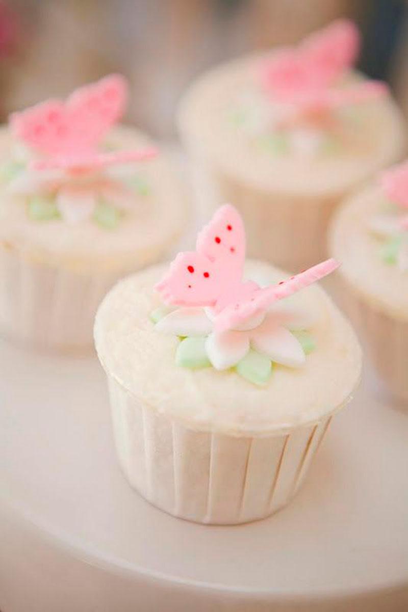 cupcake borboleta rosa