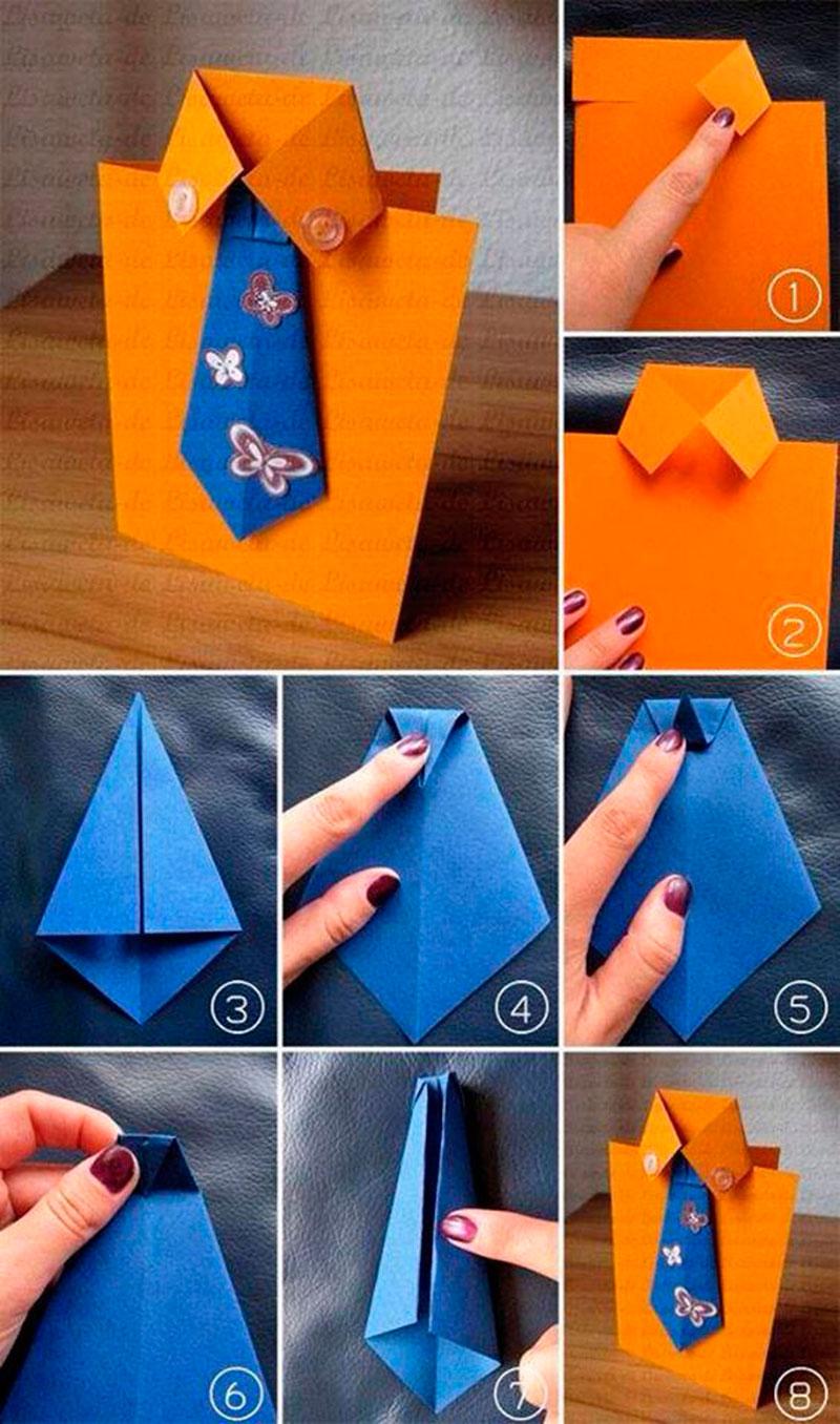 Origami de camisa e gravata