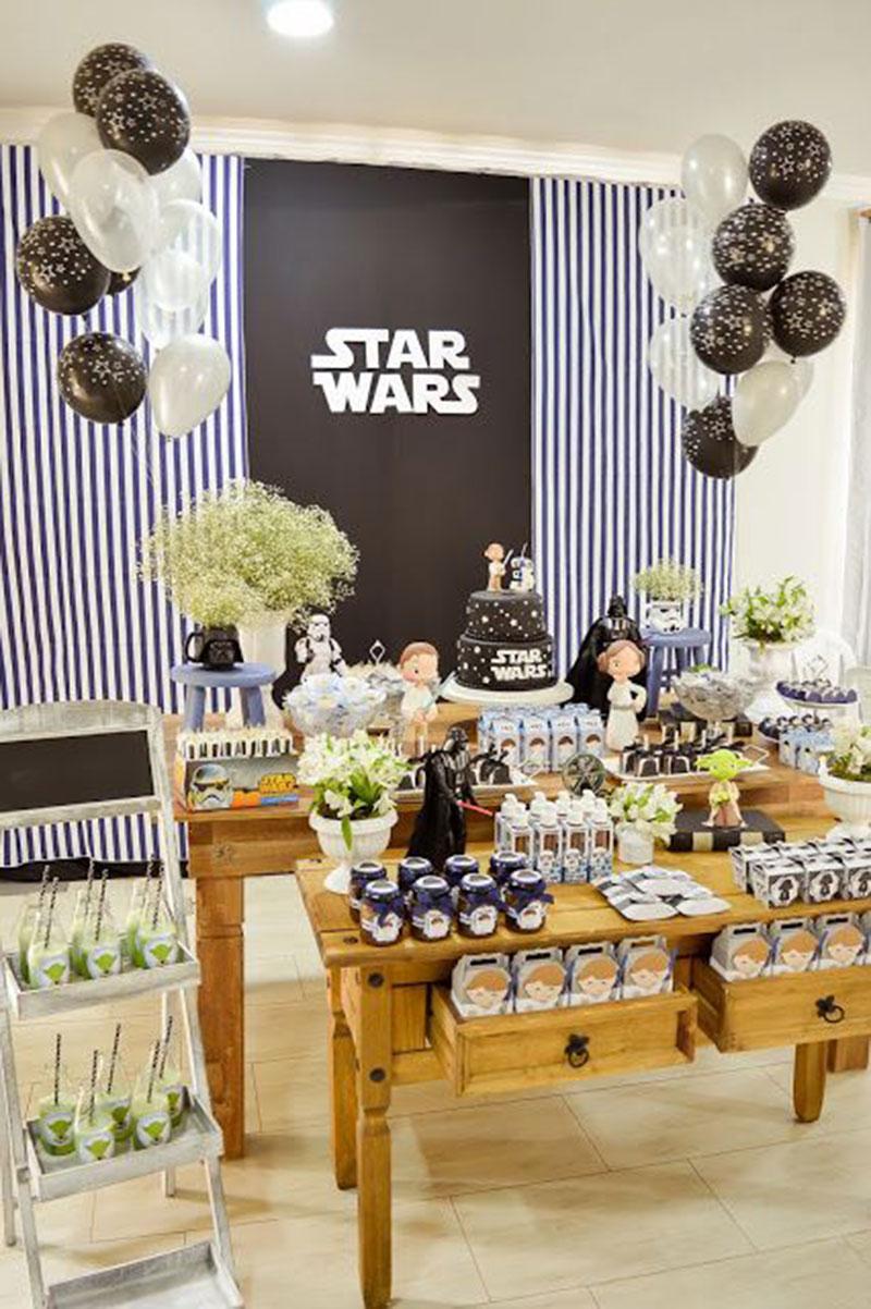 mesa decorada festa guerra nas estrelas
