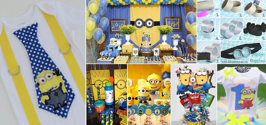 70 Inspirações – festas infantis dos Minions - temas de festa infantil procurados para meninas e meninos