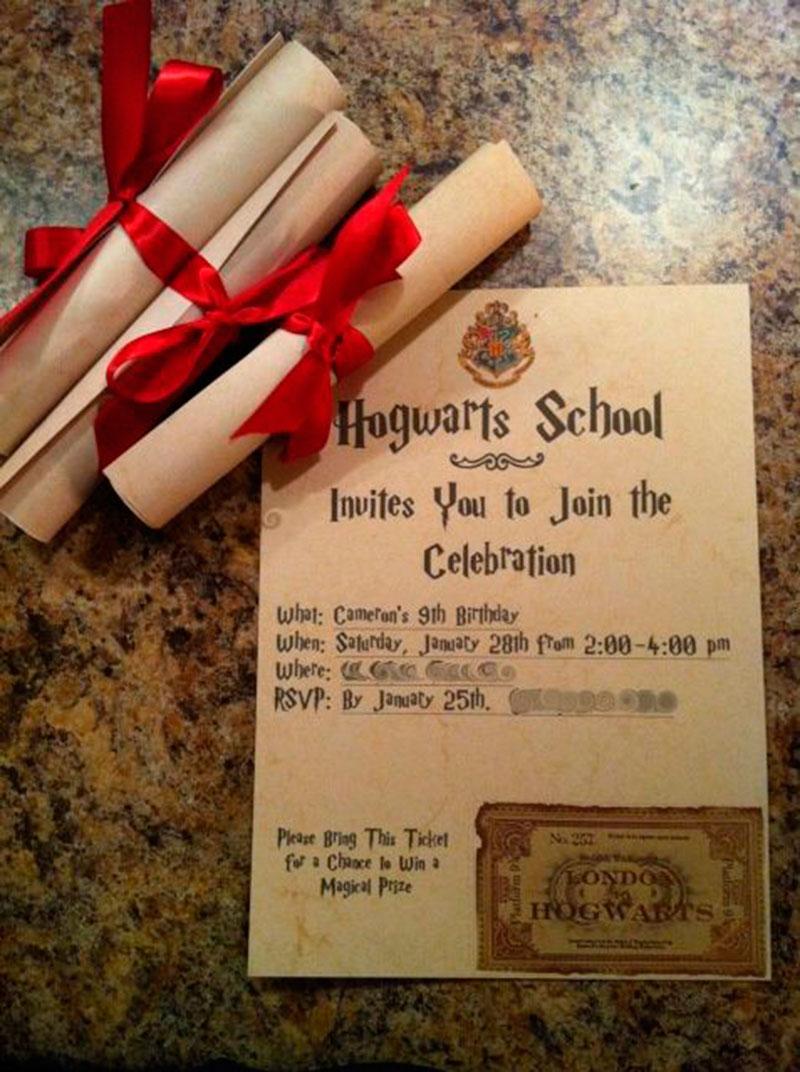 convite de aniversário infantil - Harry
