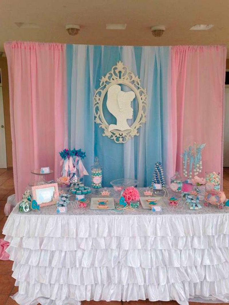 painel Cinderela rosa e azul