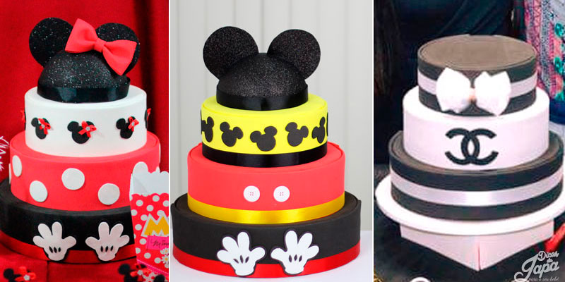 bolo fake de-eva mickey minnie e channel